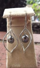 New Honora  Pearl Baroque Openwork TWISTED  Dangle Sterling Earrings  BLACK