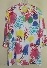 NWT Erin Graphic Bold Floral Artsy Embossed Linen Rayon Shirt Jacket Sz 2X