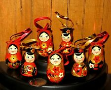 matryoshka Russian Doll Khokhloma Set 7 Christmas Tree RED BLACK Boys & Girls