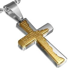 Stainless Steel Gold Silver-Tone Cross Crucifix Prayer English Pendant Necklace