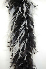 CHANDELLE FEATHER BOA - BLACK w/ WHITE OSTRICH 2 Yards 80 Gram Costumes/Dress
