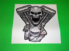 LETHAL THREAT HARLEY DAVIDSON METRIC BIKE PISTON HEAD SKULL HEAD DECAL STICKER
