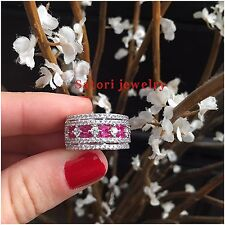 Platinum Sterling Silver White And Pink Sapphire Vintage Design Pave Band  Ring
