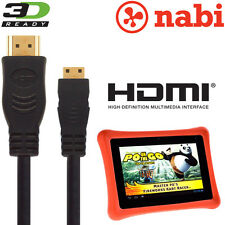 Nabi 2, Nabi XD Kids Android Tablet PC HDMI Mini to HDMI TV 3M Gold Cable Cord
