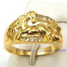 Size 10 Ring,REAL HORSE GEMSTONE 18K YELLOW GOLD GP SOLID FILL,Multi-size v15