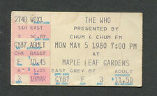 1980 The Who Blackfoot Concert Ticket Stub Toronto Maple Leaf Who Are You Tour