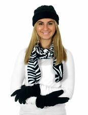 Women's 3 Piece Micro Fleece Hat Scarf and Gloves Winter Set