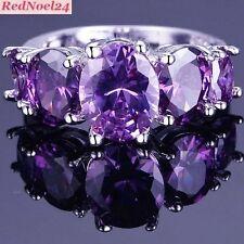 Amatista púrpura Oval corte femenino 925 Estampado De Plata Anillo Talla 6-L