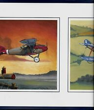 Country Biplanes and Barns on White with Navy Blue Trim WALLPAPER BORDER