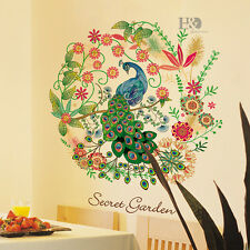 Flower Peafowl Removable Wall Stickers Quote Art Vinyl Decal Mural BedRoom Decor