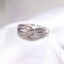 925 STERLING SILVER DUO LOOP CZ PAVE  RING SIZE 8