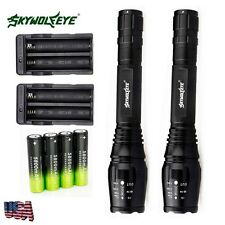 2 Sets 4000 Lumens 5 Modes CREE XML T6 LED Flashlight 18650+Charger From USA JSN