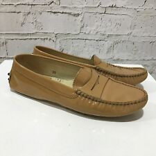 TOD'S Beige Camel Patent Leather Loafer Slip On Shoes Flats Work Size UK 6 B4634