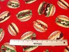Hamburgers BY Robert Kaufman Hamburger fabric BBQ food Americana fabric