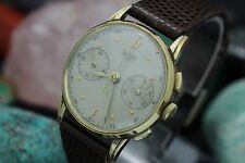 C. 1949 Vintage HEUER Chronograph Valjoux 23 General Motors 14K Gold Pres. Watch