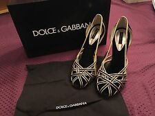 Dolce & Gabbana Women's Leather Spuntata Shoes Black and Gold SIZE 9.5
