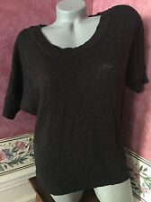 L.E.I. Lucianna Sweater Top 3/4 Dolman Sleeve Semi Sheer Textured Black Large L