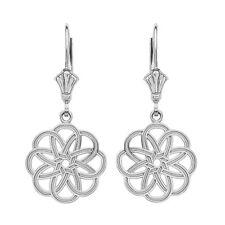 Sterling Silver Celtic Knot Round Flower Shape Drop / Dangle Leverback Earrings