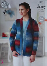 KNITTING PATTERN Ladies Easy Knit Long Sleeve Jacket Chunky King Cole 4711