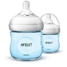 BNEW Avent Natural Baby Feeding Bottle 4oz. Blue Twin Pack