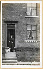 Edwardian/1920's era Postcard - Lady outside her house with her dog on a lead
