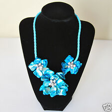 Elegant style smaller sky blue color pearl shell flower/Leather Fashion necklace