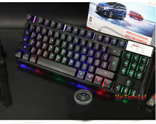 UK P18 87 Keys Colorful Rainbow Backlit Ergonomic PC Gamer Usb Gaming Keyboard