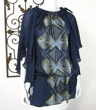 MUNTHE PLUS SIMONSEN SHORT SLEEVE BLOUSE SIZE S/M, BLUE