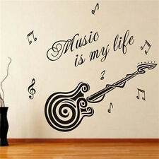 New Removable Vinyl Wall Quotes Home Decor Music is my life Guitar Pattern