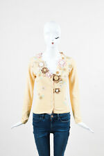Moschino Cheap and Chic Yellow Embroidered Beaded Floral Cardigan Sweater SZ 6
