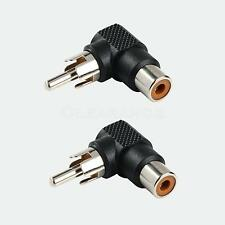 2x RCA male to female right angle connector plug adapters 90 degree elbow