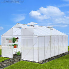 17.53 m³ Greenhouse Polycarbonate Aluminium Frame 4 Windows Grow Plants Garden