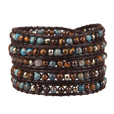 KELITCH Natural Tiger Eye Turquoise Genuine Leather 5 Wrap Bracelet NEW Jewelry