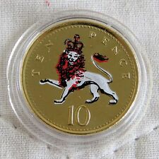 2002 QEII TEN PENCE LAYERED IN PURE GOLD AND ACCENTED IN FULL COLOUR