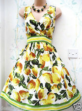 SIZE 18 VINTAGE 50'S RETRO YELLOW CITRUS LEMON FRUIT PRINT DRESS # US 14 EU 46