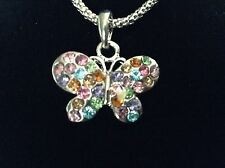 New! Rainbow Crystal Butterfly Necklace & Charm Jewelry Youth Girl Gift
