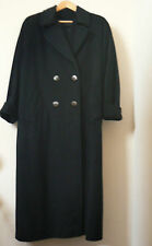 HARRODS Black Wool Angora Coat Horn Buttons Generous Chic Style Long UK 14 M L