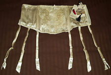"Luxury Silk 6 STRAP SUSPENDER metal clips - (XL 38""-42"") Ivory garter BELT NEW"