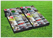FISHING Custom Cornhole Boards BEANBAG TOSS GAME w Bags Tackle Fish Box Set 281