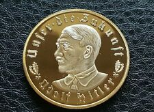 ADOLF HITLER 24ct GOLD PLATED NAZI COIN TOKEN DEUTSCHLAND THIRD REICH GERMANY