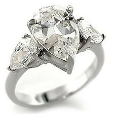 Silver Pear Cut Engagement Cocktail Ring Cubic Zirconia Size 10 USA Seller