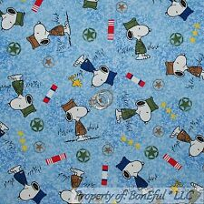 BonEful Fabric FQ Cotton Quilt Blue Snoopy Peanuts Military Dog Tag Badges Army
