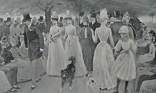 1888 Two Large Antique Prints - Hyde Park, London - Marble Arch, Sunday Strolls