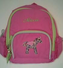 Pottery Barn Kids Preschool Mini Fairfax Pink Horse Backpack name MACIE New!