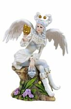 "9"" Female Jester Holding Masks Gothic Statue Fairy Decor Figurine"