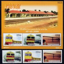 Laos Lao 2009 Eisenbahn Trains Railways 2116-18 + Bl.212 ** MNH