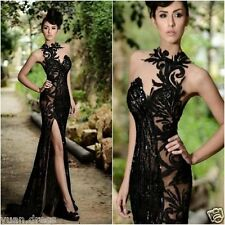 2016New Black Sequins Long Prom Party Dress Mermaid Evening Formal Pageant Dress