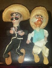 "Pair of 2 vintage  16"" Mexico marionette puppets w/old man and 2 guns* need tlc"
