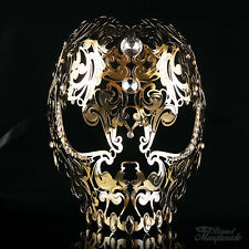 Full Face Skull Mask - Day of the Dead Masquerade Mask for Unisex M7152 [Gold]
