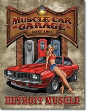 Muscle Car Garage Detroit Pin Up  Metal Sign Tin New Vintage Style USA #1568